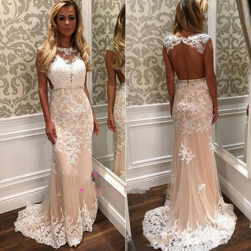 24e16b54014 Vintage Ivory Lace Prom Dresses Long 2017 Sexy Open Back Sheer Party Dress  Sweep Train Beaded Waist Sash Pageant Gala Dress
