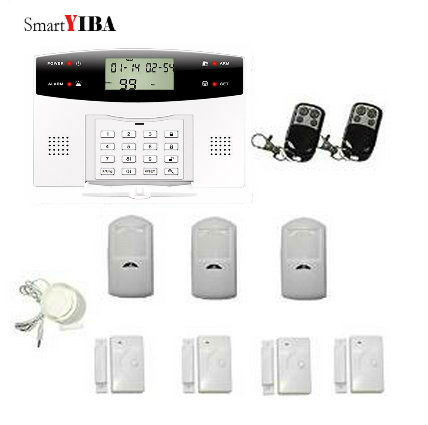 SmartYIBA Wireless Home GSM Alarm System+3pcs Remote Controller+3pcs PIR Motion Sensor+4pcs Door Sensor+Horn Security Alarm Kits