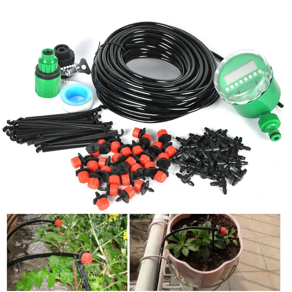 BORUiT 25m 4 / 7mm Schlauch Automatische Bewässerungskits Verstellbare Tropfer Garten Sprinkler Sprinkleranlage mit Bewässerungsuhr