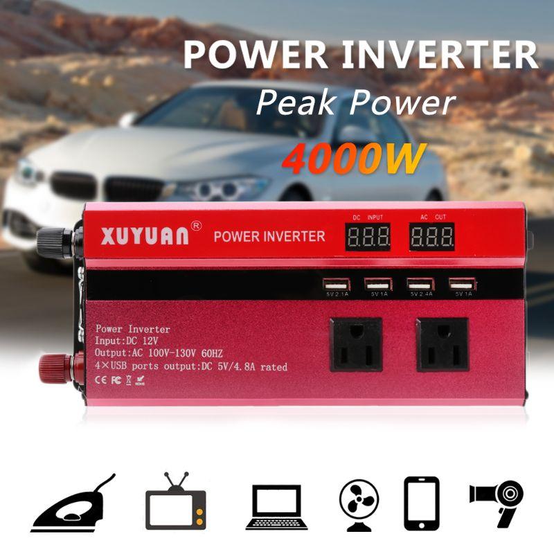 4000W samochód falownik solarny sinusoida LED 4 USB DC12/24V do AC110V/220V falownik sinusoidalny Solar Automobiles Power Inverter