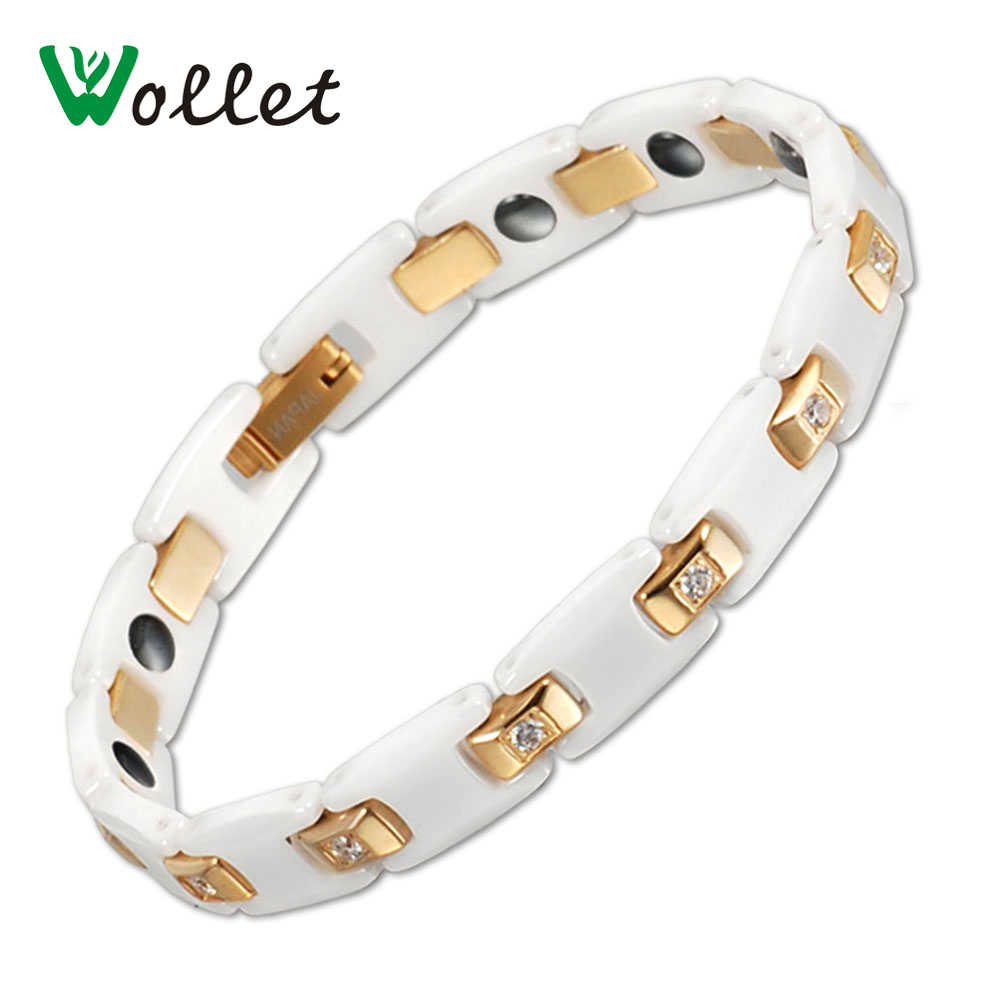 Wollet Jewelry 20cm Healing Bio Magnetic Therapy White Ceramic Bracelet Anti-fatigue Gold Filled Jewelry For Men