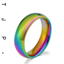 Rainbow Color Plated Stainless Steel Engagement Ring Men Jewelry Cheap Fashion Lovely Wedding Ringen Anillo Mujer
