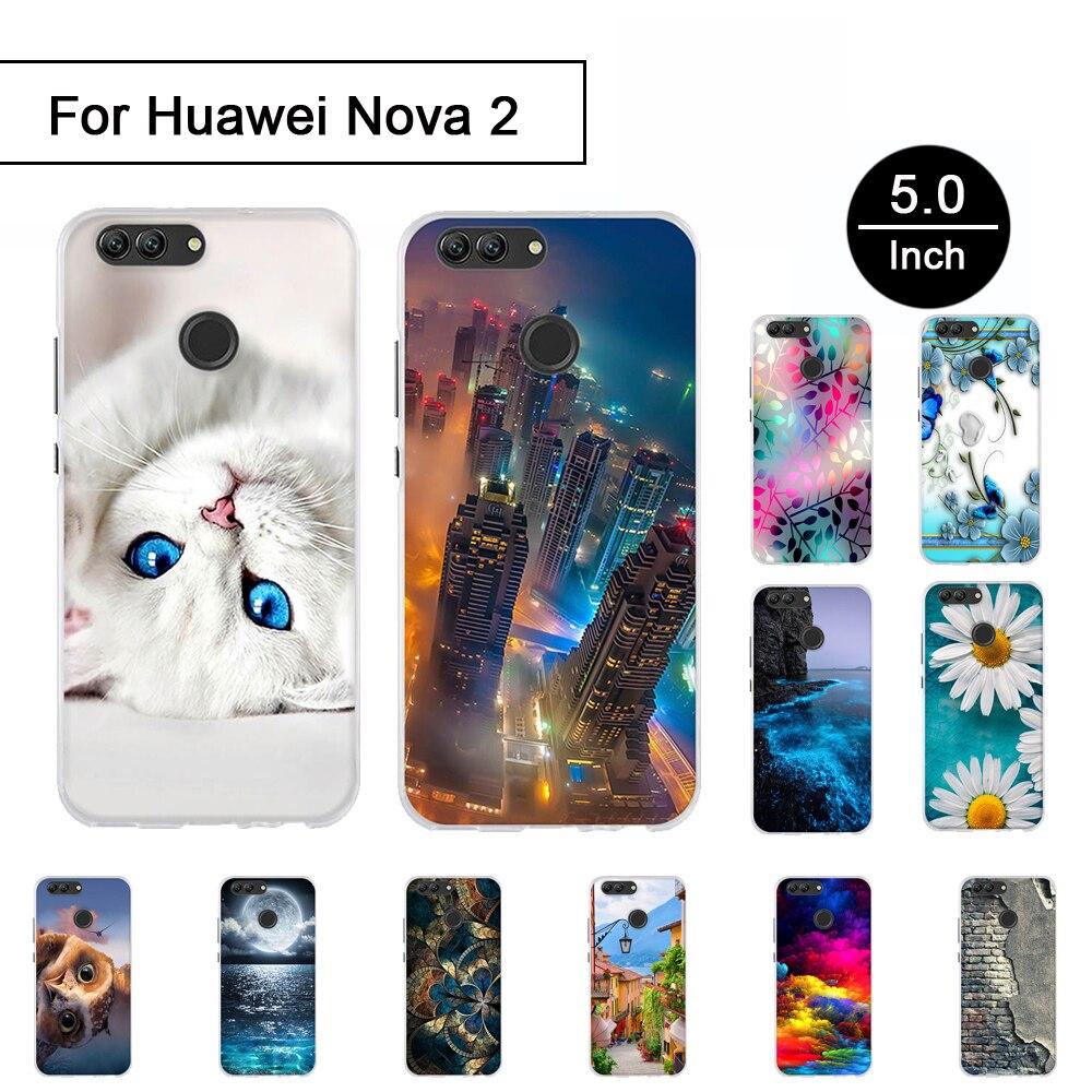 Soft Silicone Case For Huawei NOVA 2 5.0 inch Back Phone TPU Cover Cases For Huawei nova2 PIC-AL00 Painted Shells For Nova 2 Bag