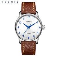 Parnis 38 мм повседневные часы мужские стильные механические часы из натуральной кожи сапфир серебро розовое золото мужские автоматические на