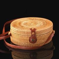 Woman Rattan Round Portable Weave Bag Sexy Function Shoulder Bag Totes Pretty Fashion Handbag