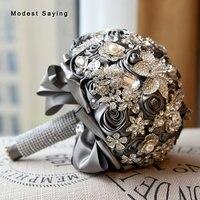 פרחים מלאכותיים יוקרה רוזט קריסטל אביזרי חתונה זרי חתונה 2018 ניו גריי שושבינה זרים buque דה noiva