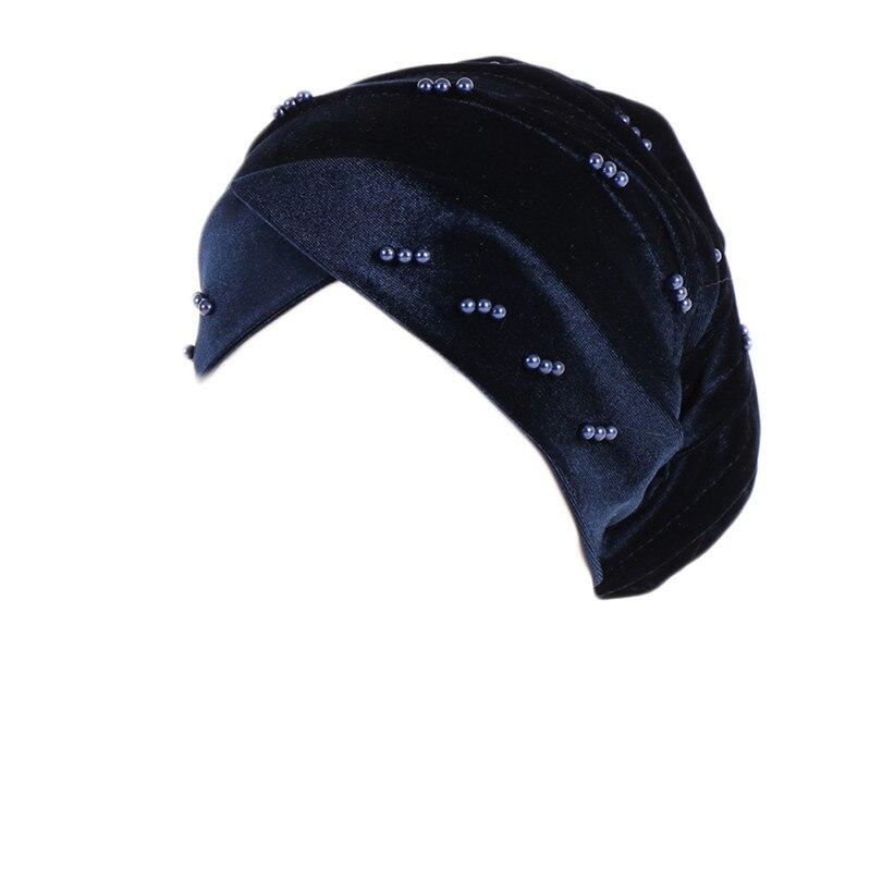 New Fashion Women Autumn Winter Muslim Beading Pearl Ruffle Hat Beanie Scarf Turban Head Wrap Cap  #4F09 (9)