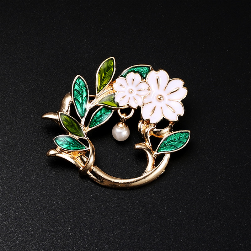 Olive branch flowers Pearl muslim hijab pins and brooches for Women safety scarf pins Broche Mujer female broches for mother