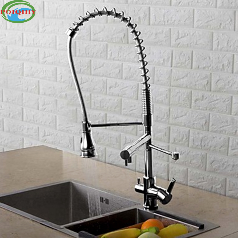 Deck Mounted Chrome Finished Pull Out Spring Kitchen Faucet Three Swivel Spouts Vessel Sink Mixer Taps Dual Handles chrome finished pull out spring kitchen faucet deck mount swivel spout vessel sink mixer tap dual sprayer