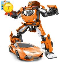 Very Cool LamborghiniCar building block cars model Deformation super robot DIY Assembling educationgal toys for boys gifts