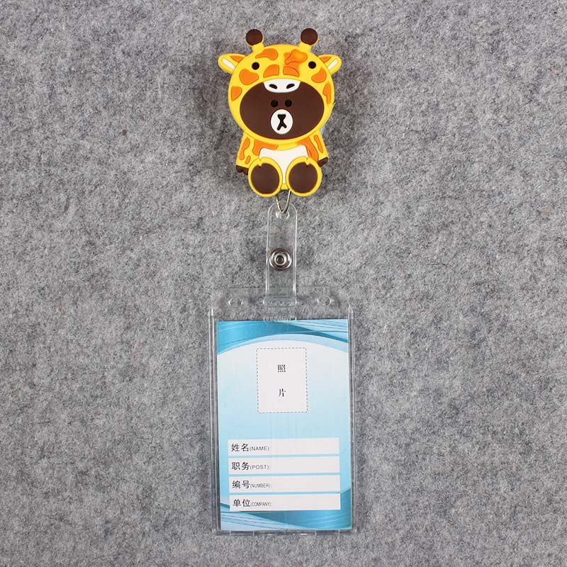 Badge Scroll Nurse Reel Cute Vertical PVC Character Scalable Colors Little Bear Nurse Exhibition ID Plastic Students Card Holder in Badge Holder Accessories from Office School Supplies