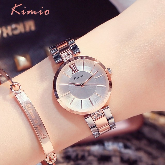 KIMIO Thin Clock Women Fashion Simple Watches Rhinestones Dress Woman Watch Rose