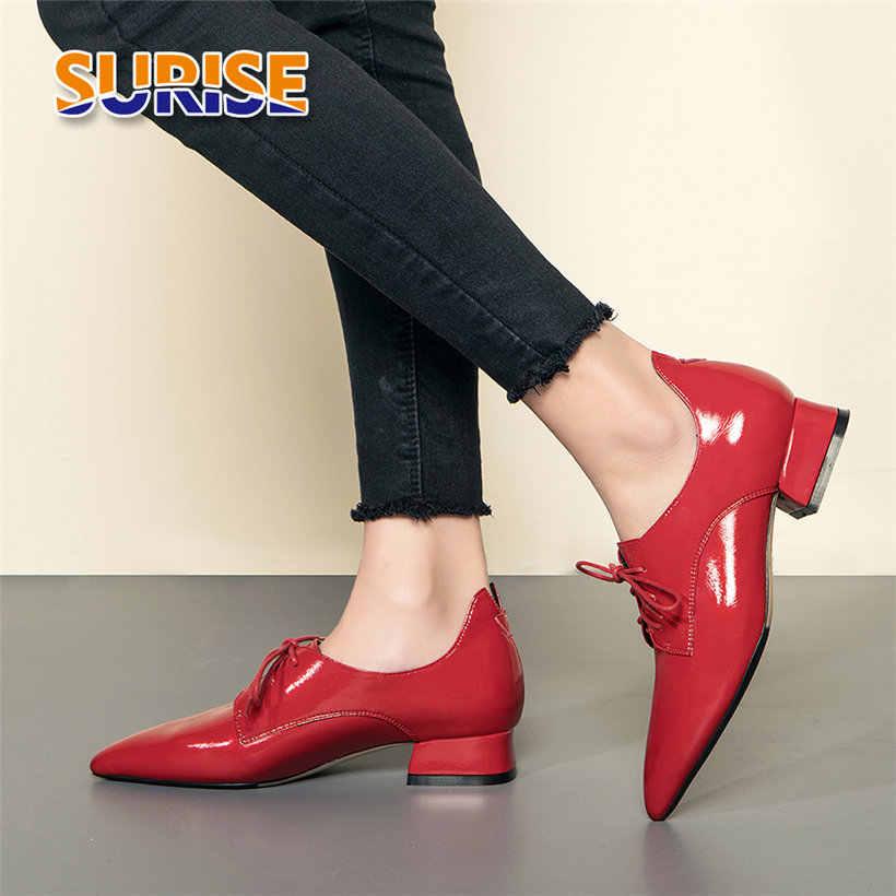 בריטי נשים Derbies אדום רך פטנט עור מחודד הבוהן דירות אוקספורד רטרו מקרית שרוכים נמוך בלוק העקב גבירותיי נעליים