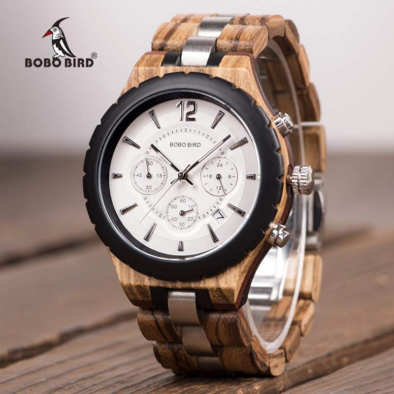 Stopwatch in Sport Watches Men BOBO BIRD Wooden Male saat erkek Metal and Wood font b