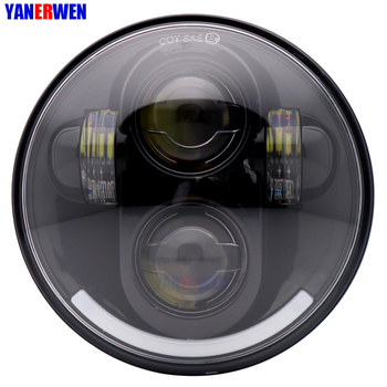 """5.75"""" 5 3/4 Inch Motorcycle Headlight 40W LED Round H4 Projector Moto Head Lamp For motor Sportster Touring - Super Glide Dyna"""