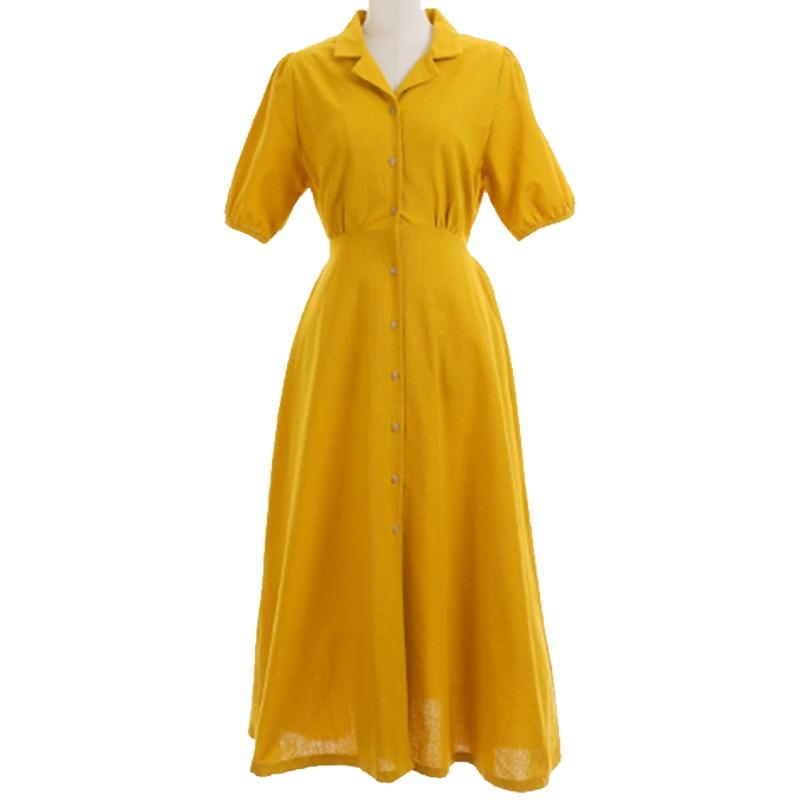 Retro Lady Style a Line Long Dress Puff Sleeve Slim Waist Long Dress Summer Elegant Robe Longue Vestido Largo Vestiti Lunga 5