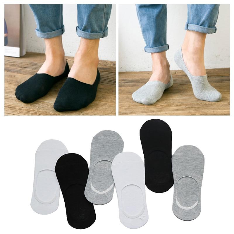 3 Pair Görünmez Tekne Çorap Moda erkek Kısa Ince Ayak Bileği Çorap Sığ Ağız Yaz Tarzı Rahat Kaymaz Terlik çorap Erkekler için