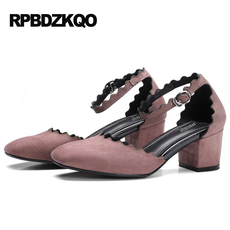 Suede High Heels Women 4 34 Small Size Shoes 5cm 2 Inch Pink Retro Square Toe Pumps Block For Strap Ankle Footwear Autumn Hasp 6cm 2 inch pointed toe 2017 thick ankle strap 4 34 small size china women pumps high heels shoes sandals brown retro clasp