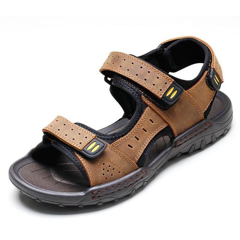 2018 Summer Men Sandals High quality Genuine Leather Hook & Loop Men Shoes Sewing Men Beach Shoes Sandalias Hombre