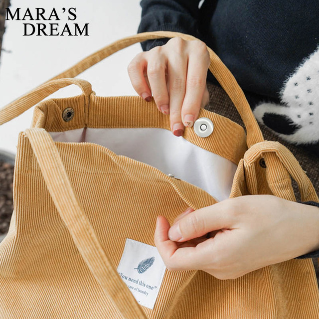 Mara's Dream High Capacity Women Corduroy Tote Ladies Casual Solid Color Shoulder Bag Foldable Reusable Women Shopping Beach Bag 5