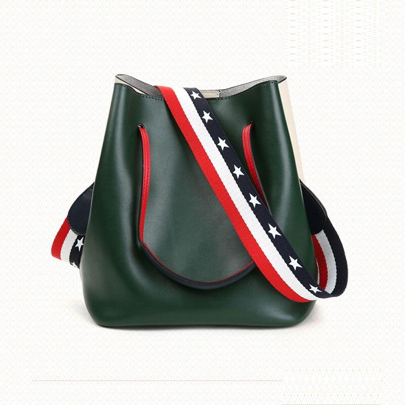 Simple leather bucket 2018 new fashion single shoulder big bag Han edition handbag package цены