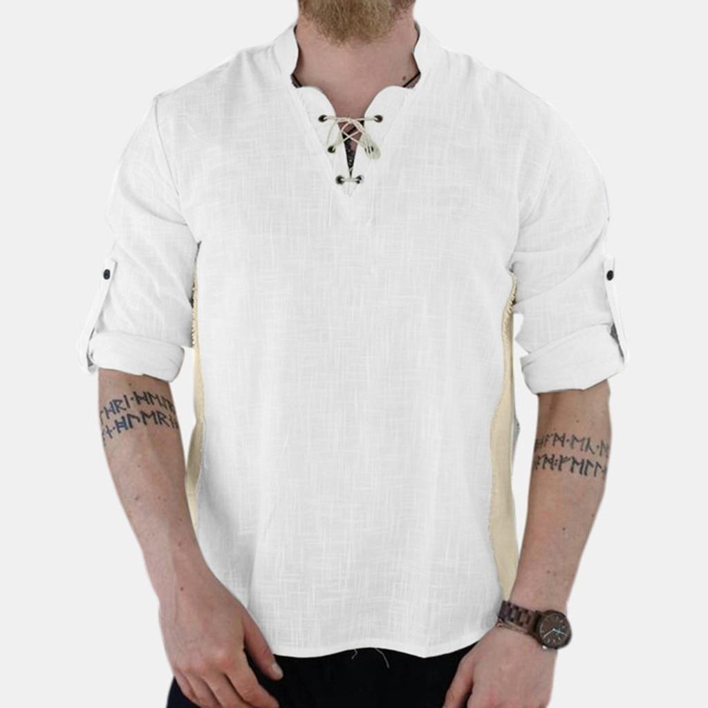 Men Shirts Men's Retro Linen Blend Patchwork Long Sleeve Drawsting Shirts  Tops Male Casual camisa masculina Plus Size|Casual Shirts| - AliExpress