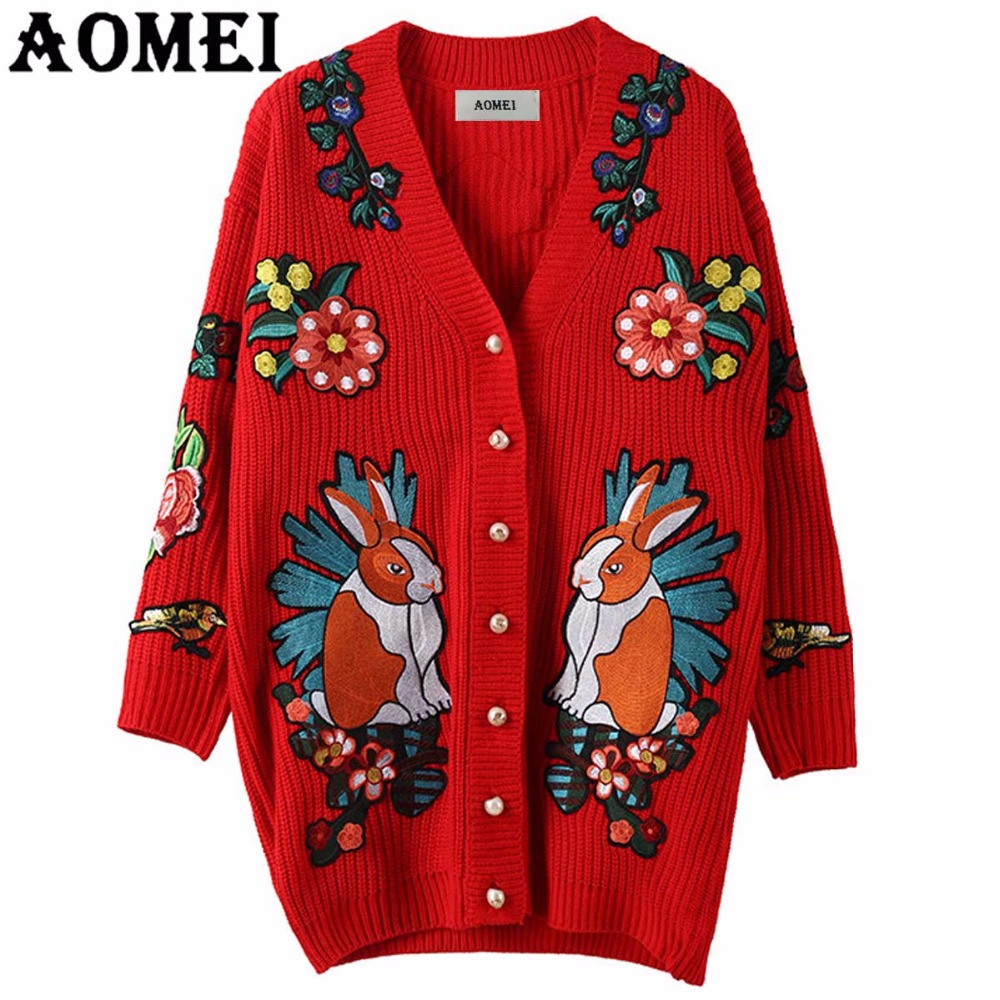 Women Long Cardigans Jumper Embroidery Animal Lady Autumn Winter Knitwear thick Sweater Cardigan Female Long Version