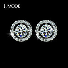 UMODE Brand Jewelry Fashion Stud Earrings For Women White Gold Color Crystal Boucle D'oreille Best Friend Gifts Brincos AUE0012