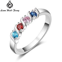 Spersonalizowane pierścienie dla kobiet niestandardowe 4 Birthstones pierścień biżuteria prezent na rocznicę dla rodziny matki (Lam Hub Fong)