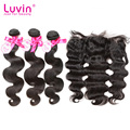 Luvin Hair Products Brazilian Virgin Hair With Lace Frontal Closure Body Wave 100% Brazilian Human Hair Bundles With Frontal