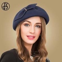 FS Vintage Womens Hat Elegant Wool Fedora Royal Blue Bowknot Felt Formal Beret Cocktail Hats Church Fedoras Chapeau Femme