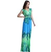 Roupas Faldas Largos Sundresses Vestidos De Verano Longo Print Boho Bodycon Large Size Robe Longue Jupe