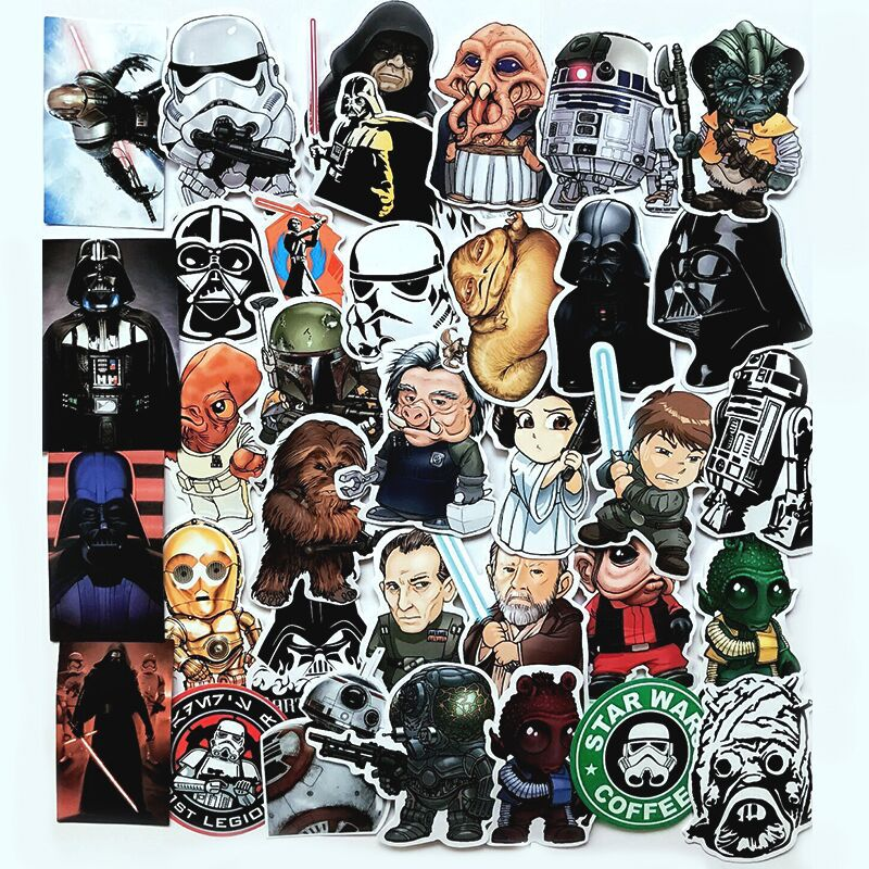 35 Pcs Star Wars Starwars Stickers Waterproof Super Hero Character Leiya Luke Solo Finn Luggage Bike Sticker Fans Party image