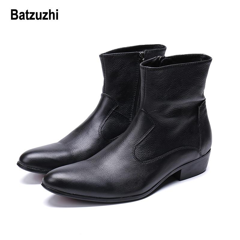 купить Batzuzhi Western Cowboy Men Boots Ankle Black Genuine Leather Winter Boots Men Safety Shoes botas hombre Cool Big Size US6-12 онлайн