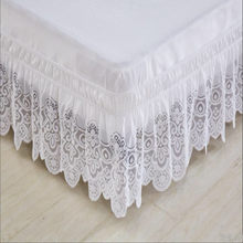 Free shipping twin full queen king size princess lace ruffles without bed surface elastic band bed skirt 37cm height bed apron(China)