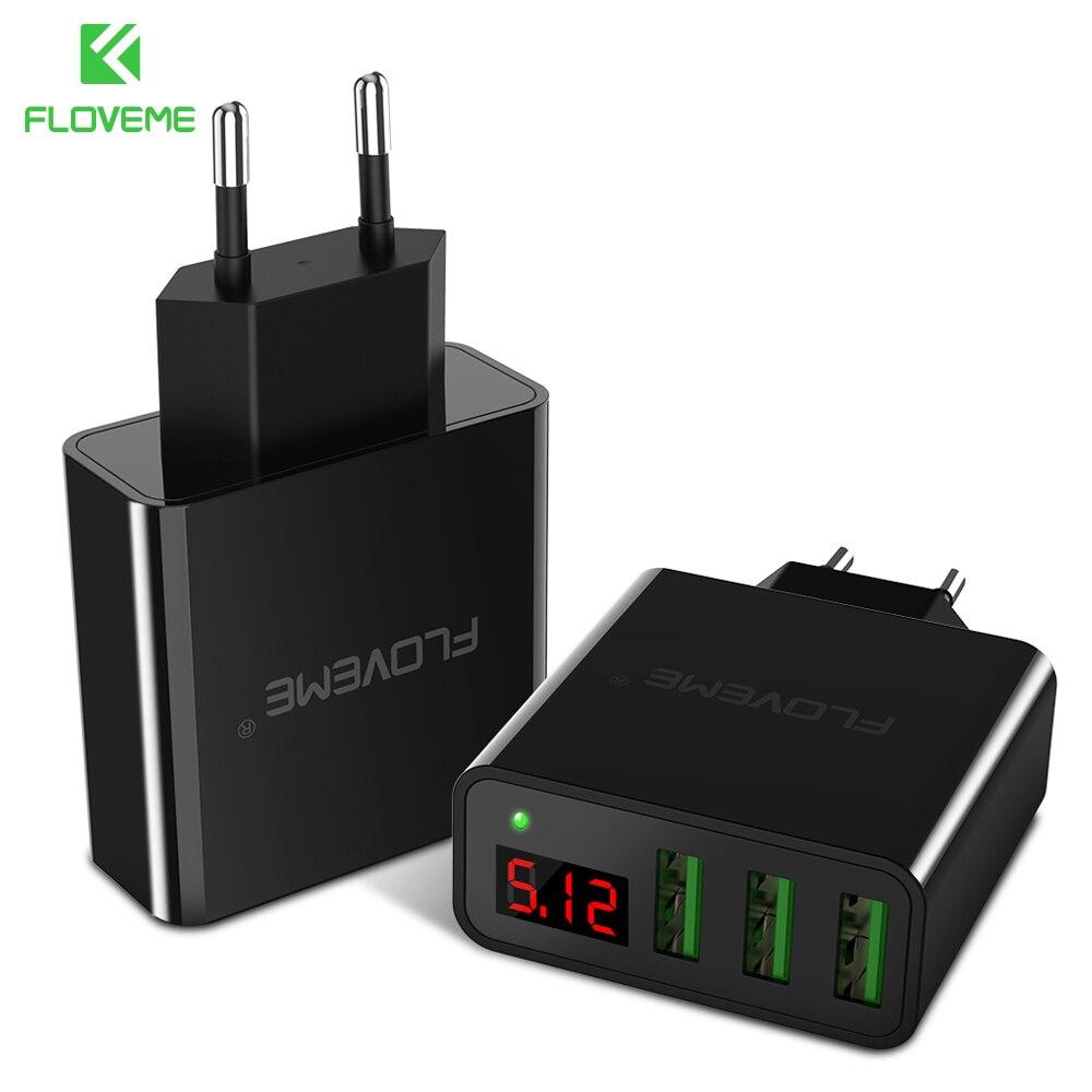 FLOVEME LED Digital 3 Ports USB Charger Universal EU Plug Wall Mobile