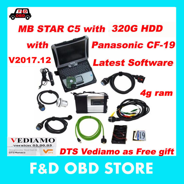 Diagnostic-tool MB Star C5 SD Connect Plus Laptop cf19 HDD Xentry/DAS Software for Mb Star C5 Support MB Cars&Trucks Diagnosis