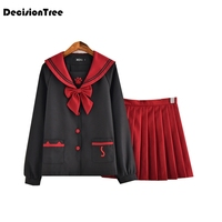 2019 summer japanese navy sailor suit long sleeved wind students loaded class service uniforms jk uniforms pleated skirt