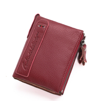 2017 New Genuine Crazy Horse Cowhide Leather Women Wallet Short Coin Purse Mini Wallets Brand High