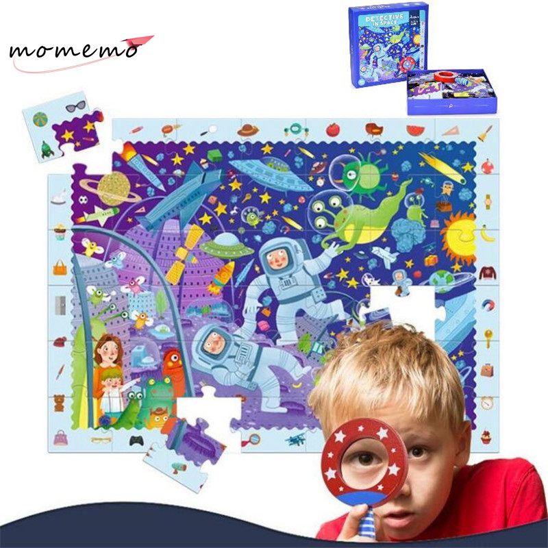 цена на 42PCS Paper Kids Puzzle with Magnifier Exploration Discovery World Children Puzzle Box Kids Learning Education Puzzle Game Toys