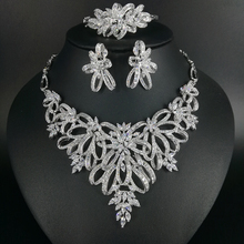 купить 2019 new fashion luxury crystal zircon golden necklace earring bracelet ring wedding bride banquet dinner jewelry set free ship! дешево