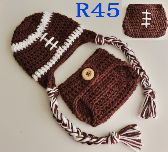 Baby Photography Props Handmade Infant Newborn Hat Diaper Cover Set