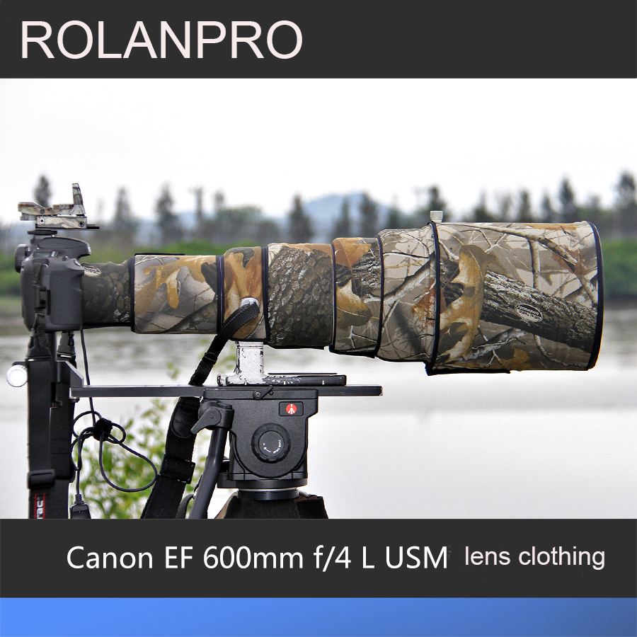 ROLANPRO Lens Clothing Camouflage Rain Cover for Canon EF 600mm f/4 L USM Lens Protective Case Camera Lens Protection Sleeve rolanpro lens camouflage rain cover for canon ef 400mm f 4 do is usm lens slr gun clothing protective case guns clothing cotton