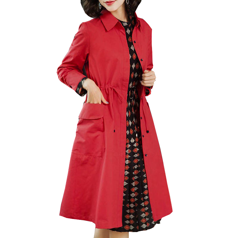 Autumn New Women's Casual Long   Trench   Coat Oversize Vintage Washed OL Business Slim Outerwear Clothing For Women Coats Red