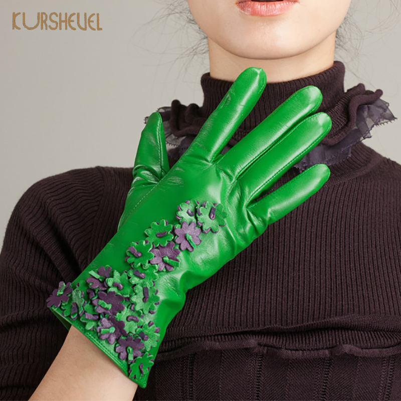 KURSHEUEL Winter Gloves Women Genuine Leather Gloves For Driving Fashion Flower Decoration Goatskin Warm Lined Mittens