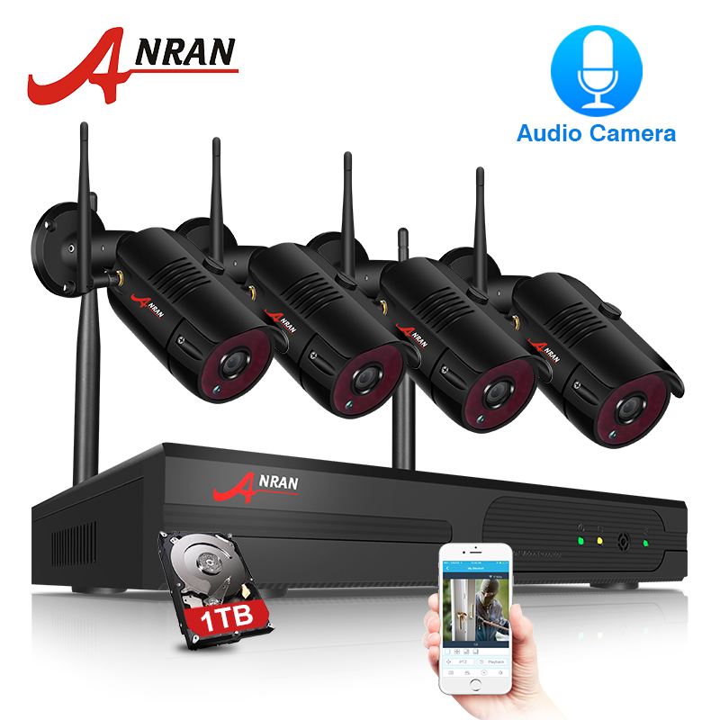 ANRAN CCTV P2P 4CH Wifi NVR 36IR Waterproof Outdoor Bullet 1080P Video Audio IP Wireless Camera Security System Hard Disk