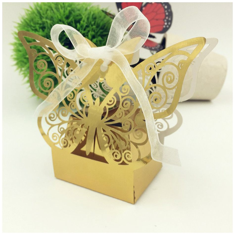 Wedding Favor And Festival: Practical Boutique New 50pcs Butterfly Wedding Favor Box