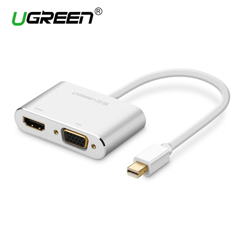 Ugreen 2 in 1 Thunderbolt Mini Displayport DP to HDMI VGA Adapter Cable 4K 1080P Mini DP Converter for Macbook Air Microsurface цена и фото