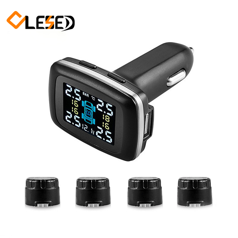 Professional Smart Car Wireless TPMS Tyre Pressure Monitoring System cigarette lighter Digital LCD Display Auto Security Alarm S digital wireless security kit four channel available monitoring