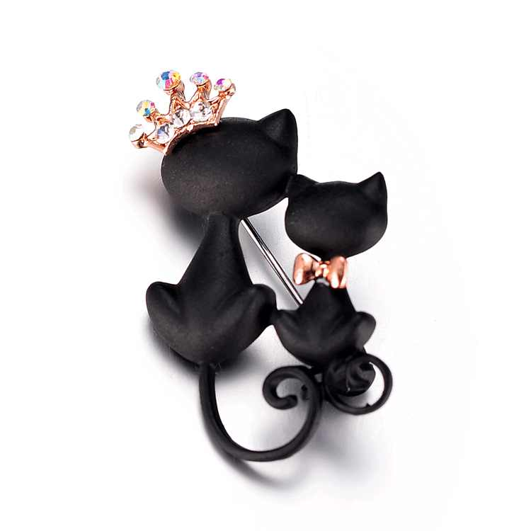 Mysterious and elegant black cat brooch adorn black cat brooch sweater accessories